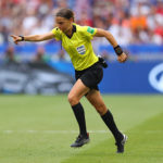 LYON, FRANCE - JULY 07:  Referee Stephanie Frappart points to the penalty spot following a VAR review during the 2019 FIFA Women's World Cup France Final match between The United States of America and The Netherlands at Stade de Lyon on July 07, 2019 in Lyon, France. (Photo by Richard Heathcote/Getty Images)